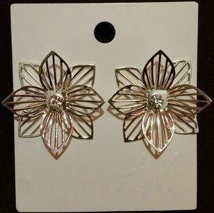 Pierced FLOWER EARRINGS with CRYSTAL
